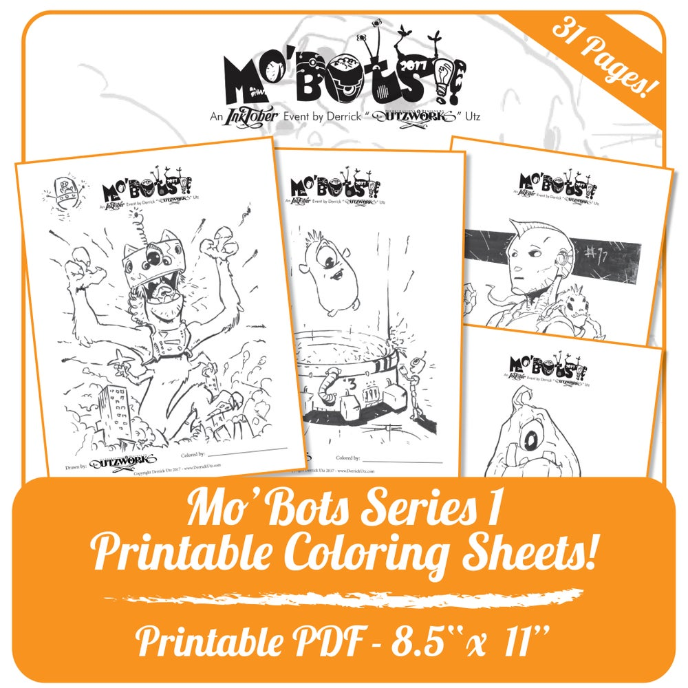 Image of Mo'bots Series 1 - Printable Coloring Sheets