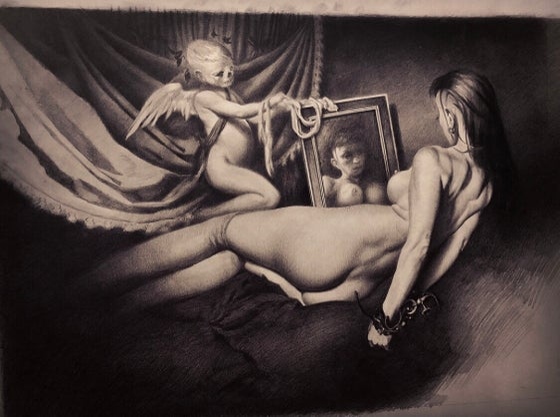Image of 'LA MARIPOSA NEGRA' - Original Artwork - Graphite on Paper - {Work in Progress}