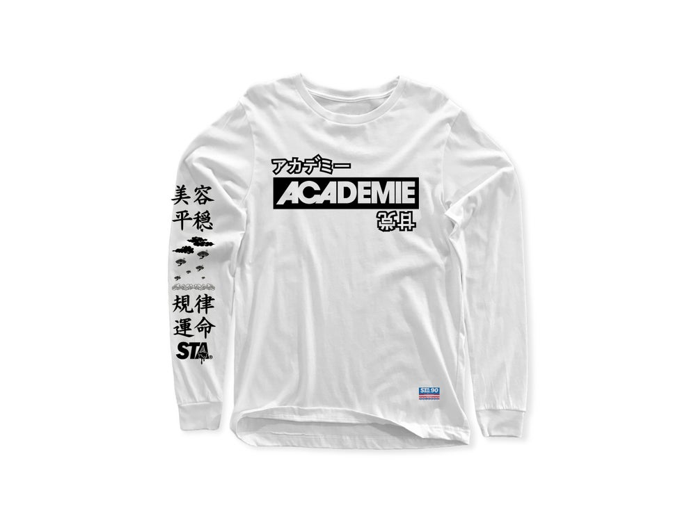 Image of ACADEMIE DESTINY STAMP WHITE LONG SLEEVE TEE