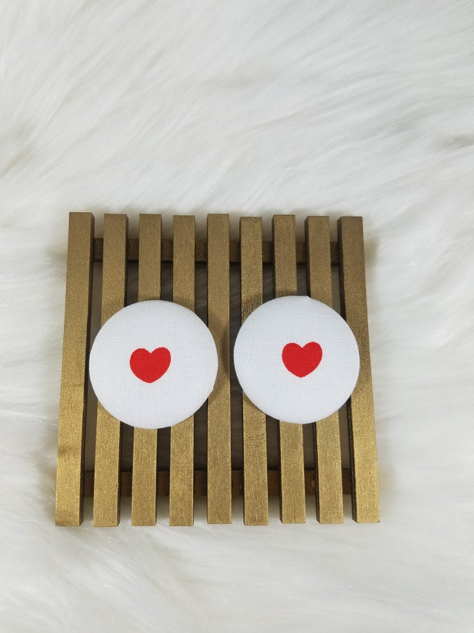 Image of White w/ Red Heart Button Earrings