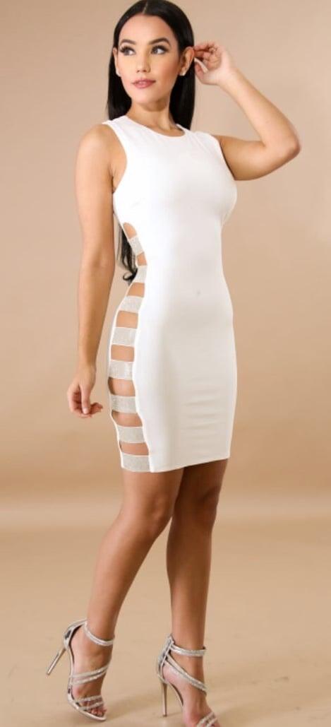 Image of Rhinestone peekaboo dress