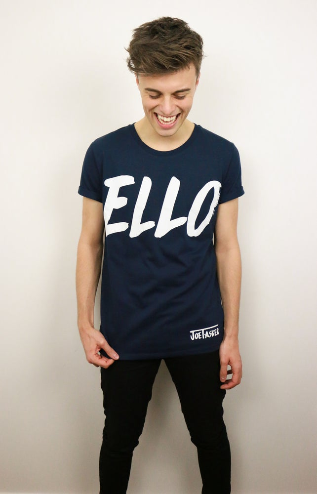 Image of Navy 'ELLO' T-Shirt