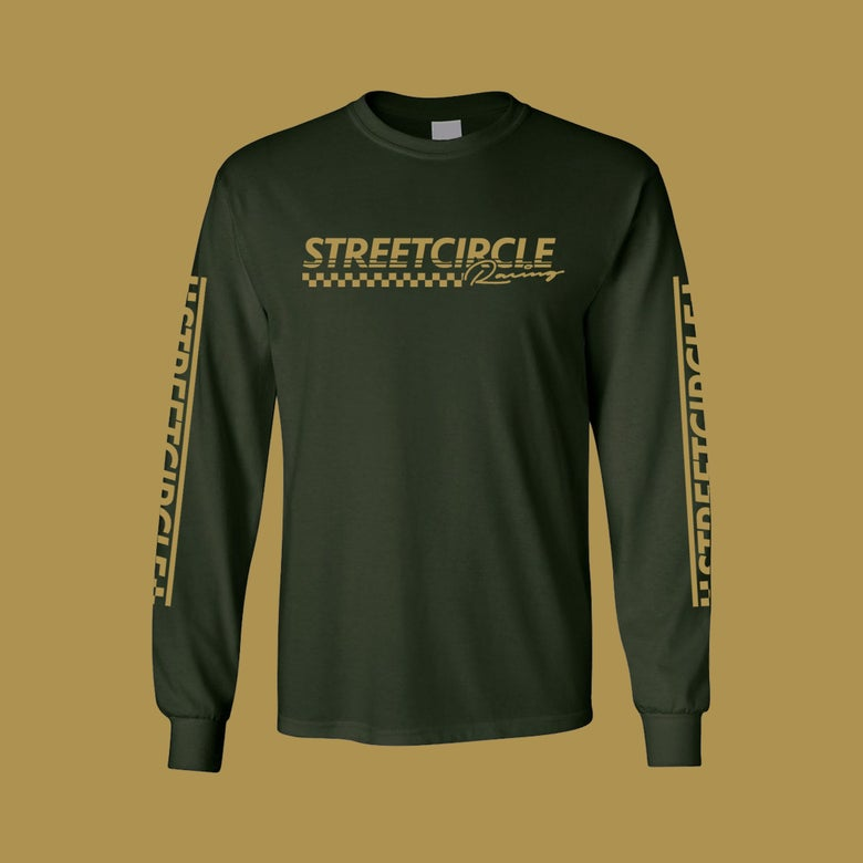 Image of StreetCircle Racing Long Sleeve T-Shirt (Forest Green/Gold)