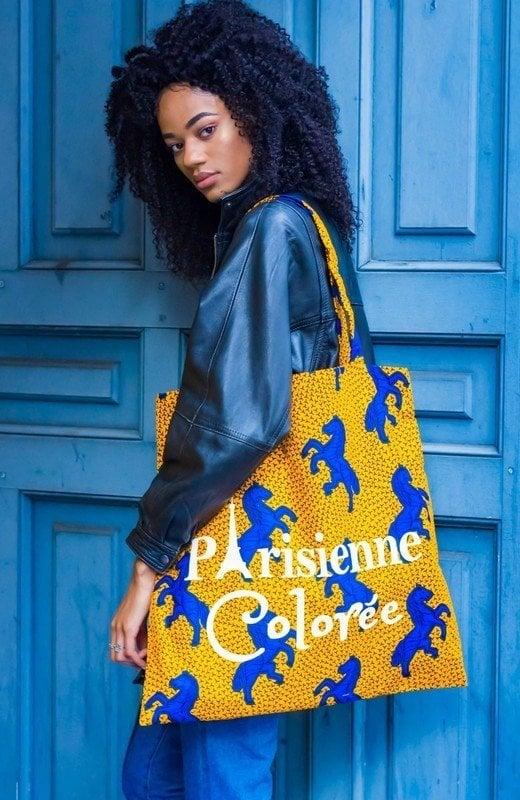 Image of Tote Bag XXL Cheval Bleu Parisienne Colorée 40% OFF