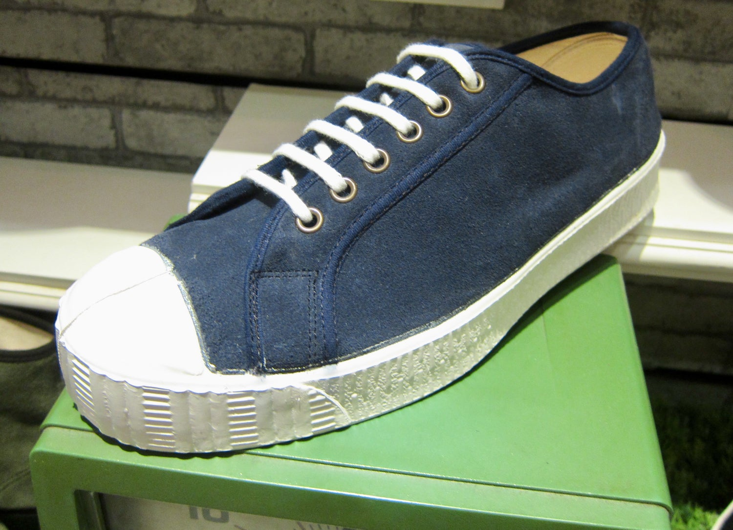 Image of FERN ARMY TRAINER LO SUEDE NAVY SNEAKER. MADE IN THE CZECH REPUBLIC