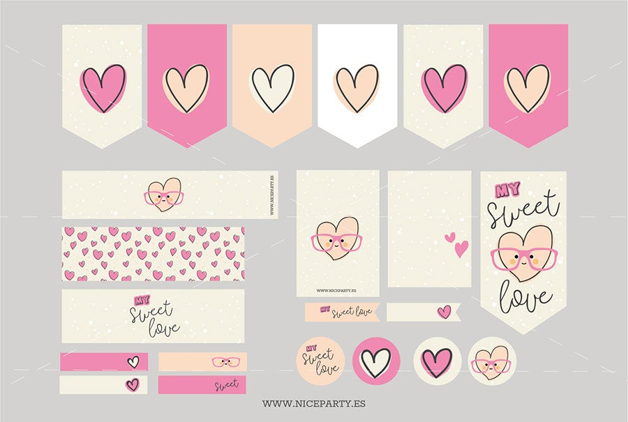 Image of Pack imprimible Sweet Love