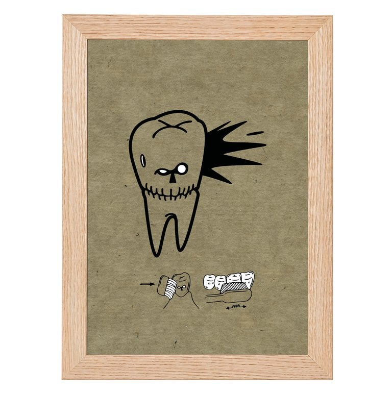 Angry Tooth Skull Print