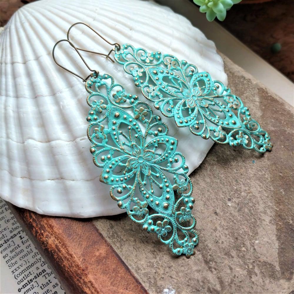 Image of Turquoise Filigree Distressed Enamel Brass Bohemian Earrings