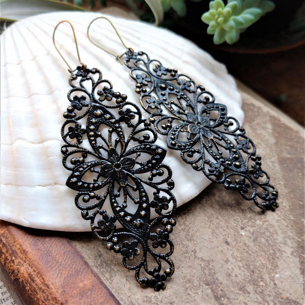 Image of Black Filigree Distressed Enamel Brass Bohemian Earrings