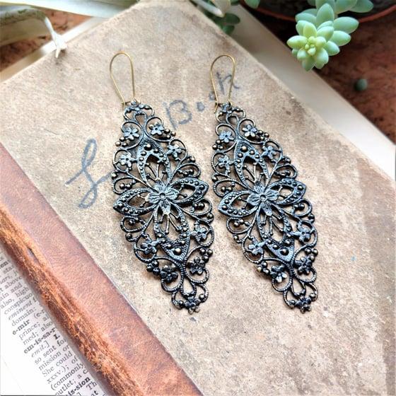 Image of Black Filigree Distressed Enamel Brass Bohemian Earrings