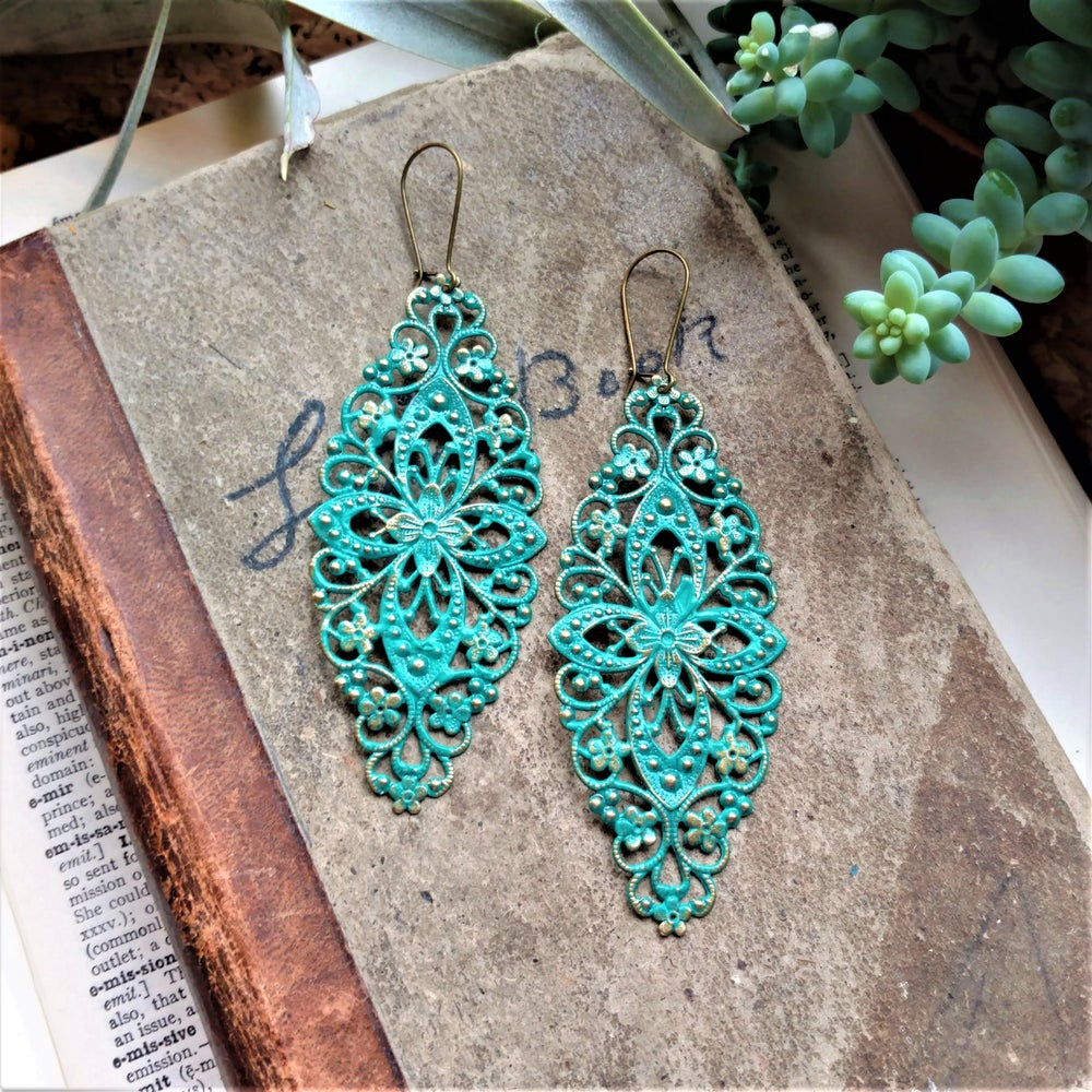Image of Teal Filigree Distressed Enamel Brass Bohemian Earrings