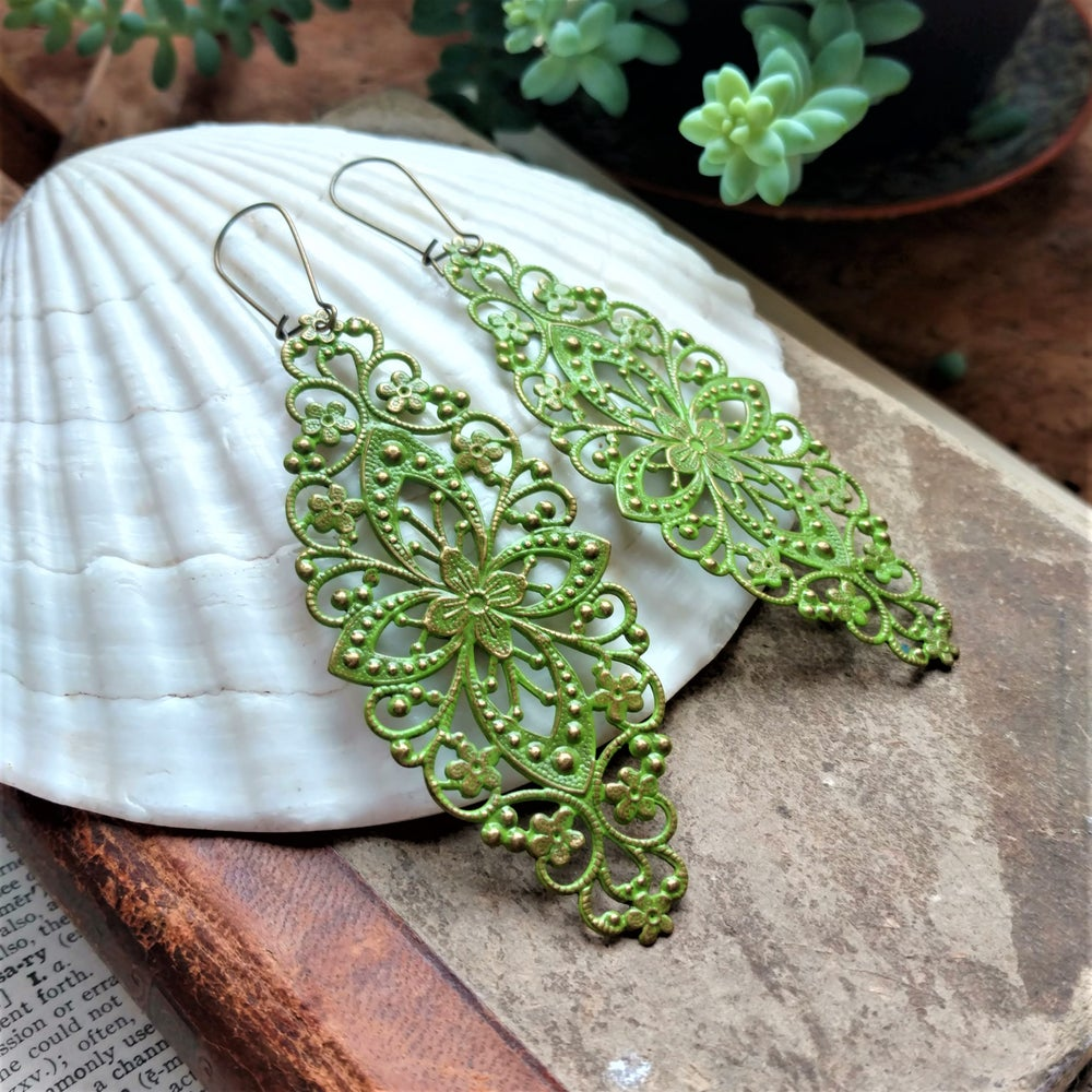 Image of Green Filigree Distressed Enamel Brass Bohemian Earrings