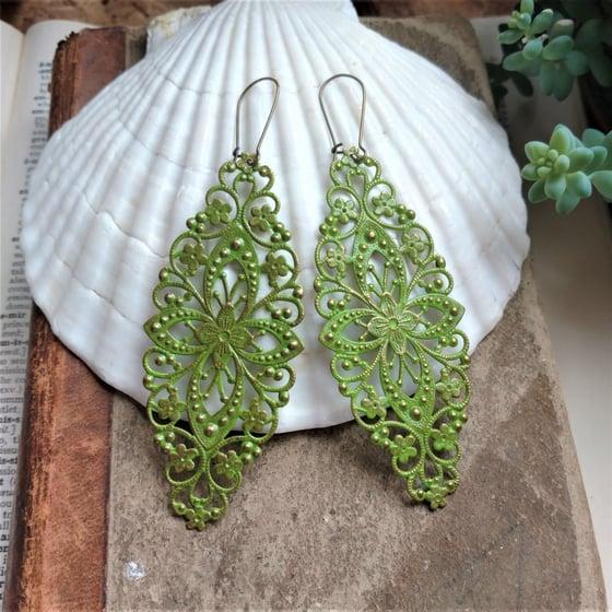 Image of Green Filigree Distressed Enamel Brass Bohemian Earrings