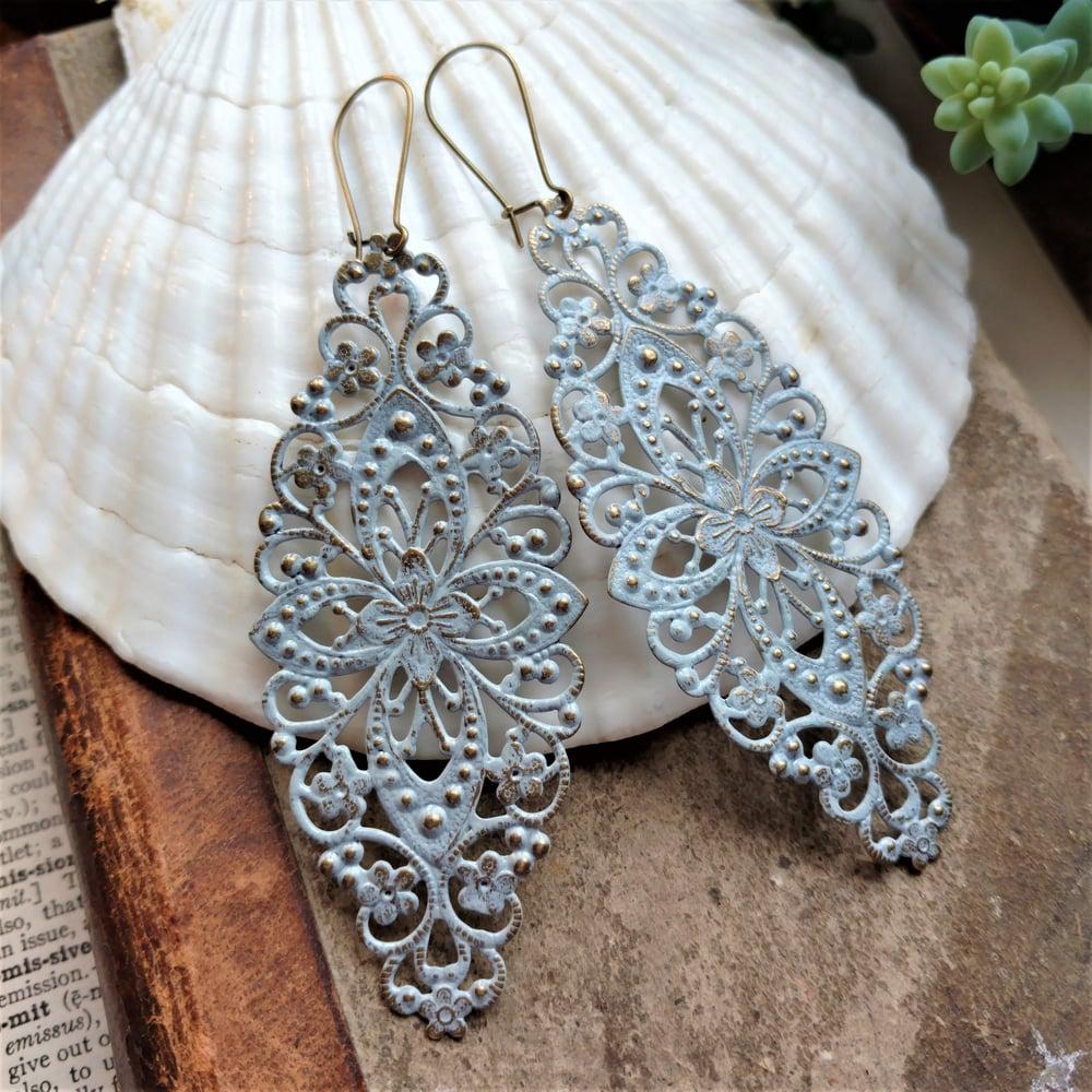 Image of Grey Filigree Distressed Enamel Brass Bohemian Earrings