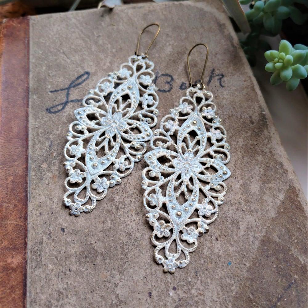 Image of Ivory Filigree Distressed Enamel Brass Bohemian Earrings