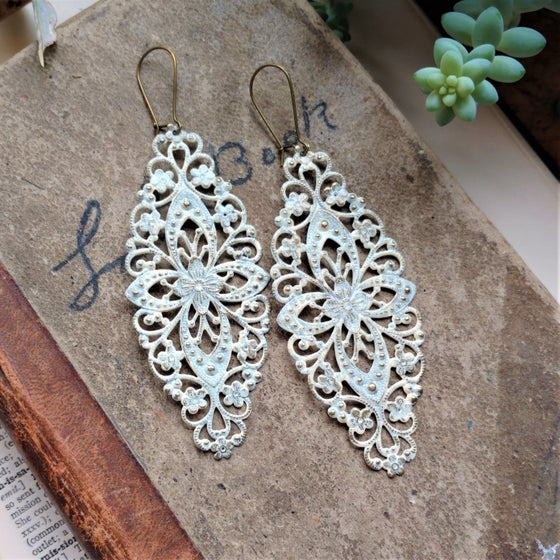 Image of Ivory Filigree Distressed Enamel Brass Bohemian Earrings
