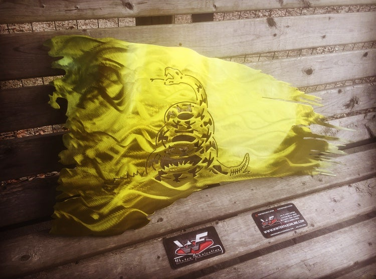 Image of Tattered & Waving Gadsden Flag - Don't Tread On Me