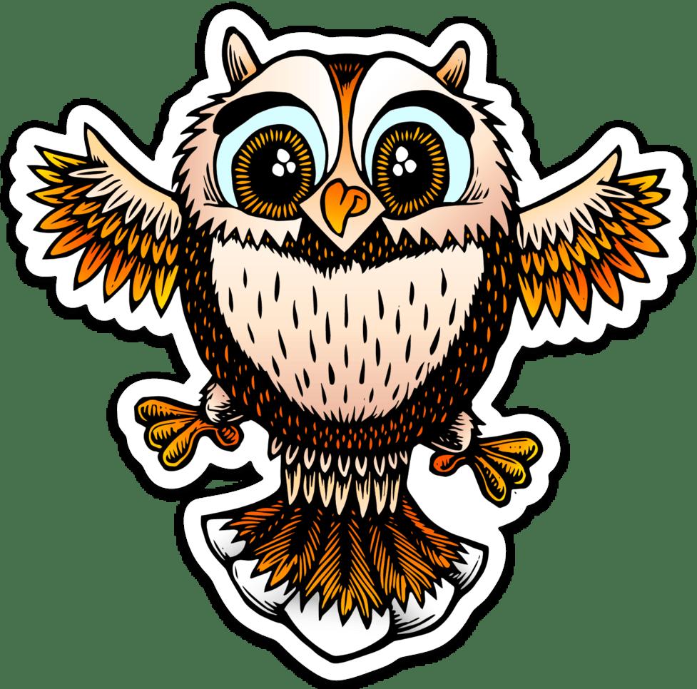 Cute little owl sticker
