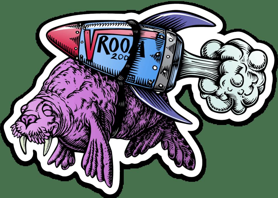 Vroom Walrus Sticker