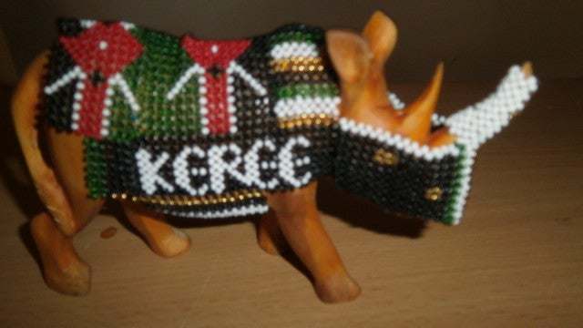 Image of Beaded rhino carving