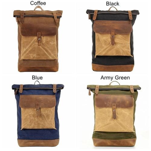 Image of Waterproof Waxed Canvas Travel Backpack, Canvas Rucksack, Shoulder Bag for Men FX1004-1