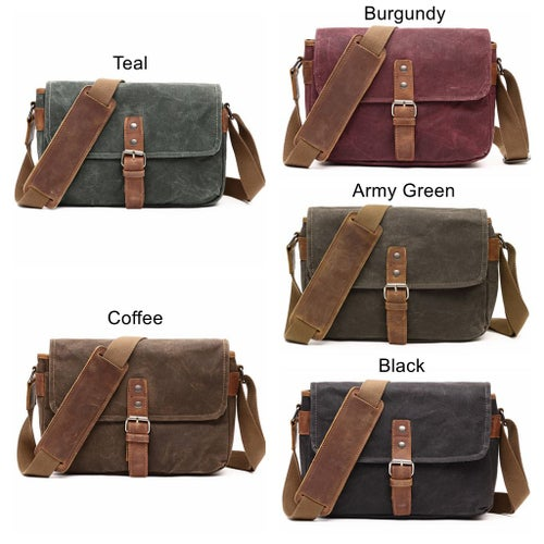 Image of Waterproof Waxed Canvas Camera Bag, Small Camera Bag, Shoulder Bag FX8816