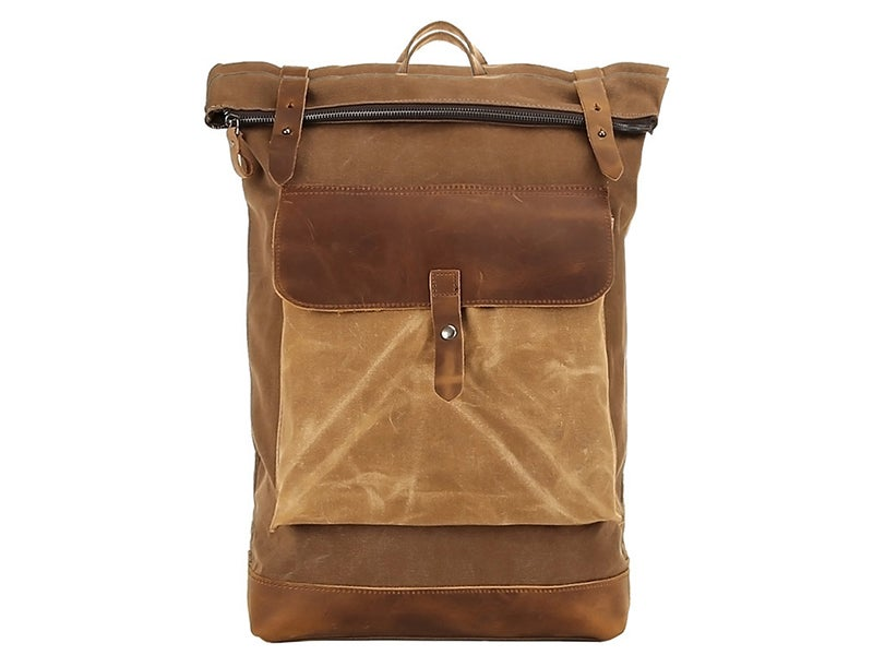 Image of Waterproof Waxed Canvas Travel Backpack, Canvas Rucksack, Shoulder Bag for Men FX1004-1