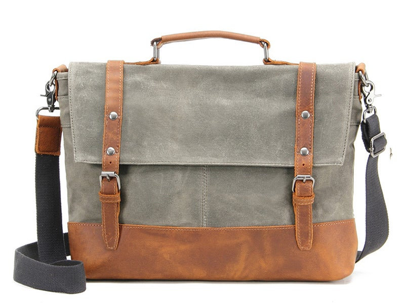 Image of Waterproof Waxed Canvas Messenger Bag, Men's Shoulder Bag, Canvas Bag with Leather Trim FX2008-1