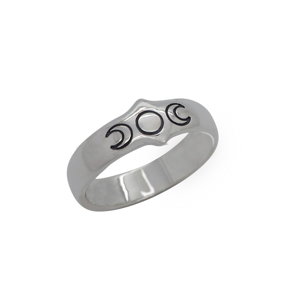 Image of Sterling Silver Triple Moon Goddess Ring