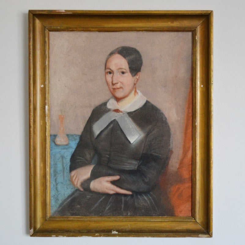 Image of 19thC Pastel Portrait, Woman with White Collar