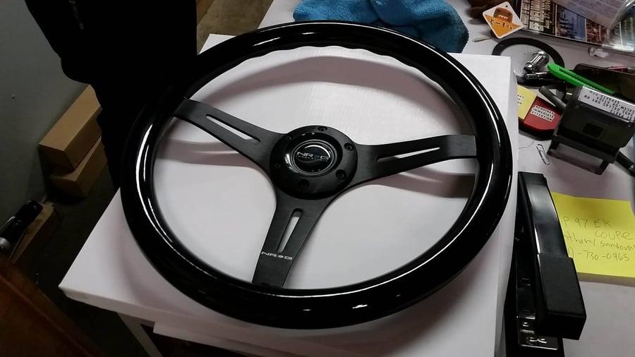 Image of Black Smooth Classice Wood Grain BRAND NEW NRG Steering Wheel 350mm