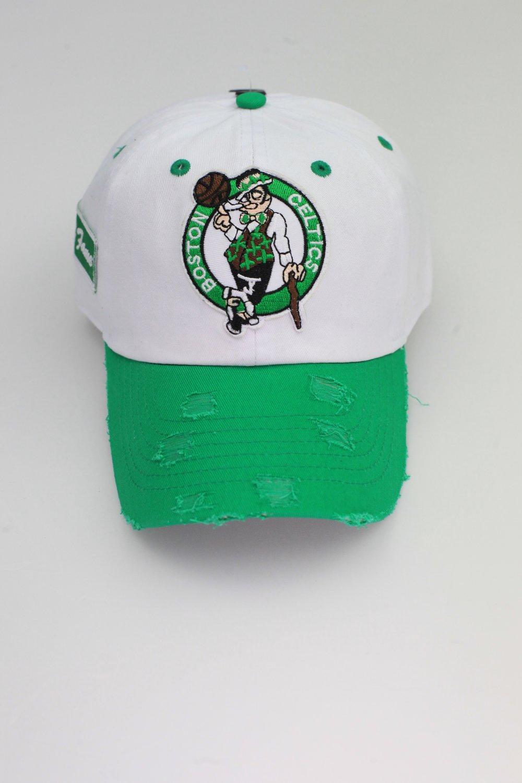 Image of Celtics Kelly/White 2-Tone Distressed Dad Hat