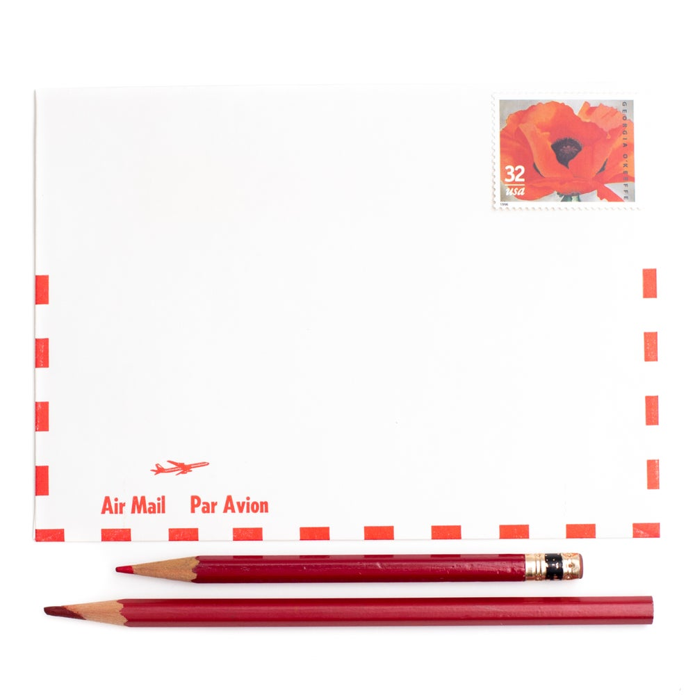 Image of Red & White Airmail Envelopes - Set of 15