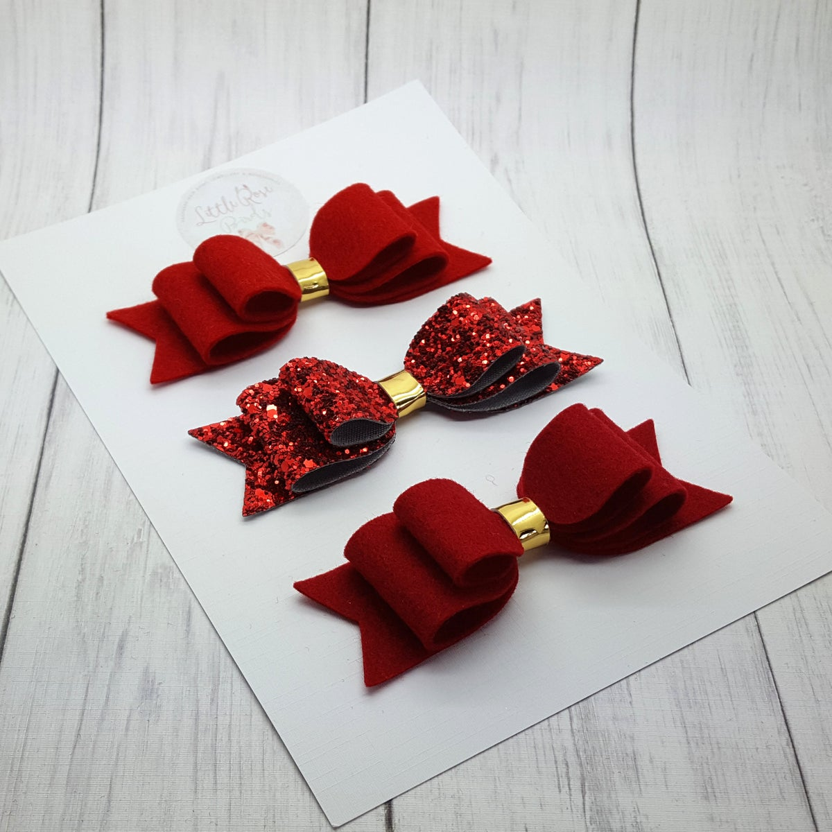 "Image of 4"" Red Double Loop Bows - Choice of Colour"