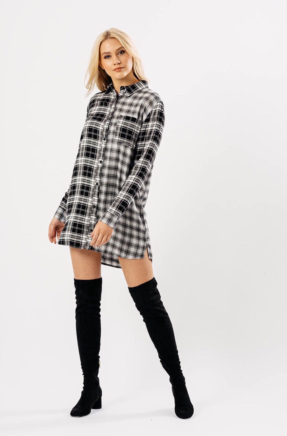 Image of Maggie checked shirt dress