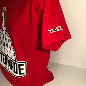 Image of Red T-Shirt with Middle Finger Logo