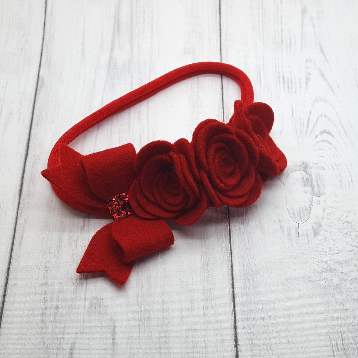 Image of 3 Flower Bow Headband with Bow