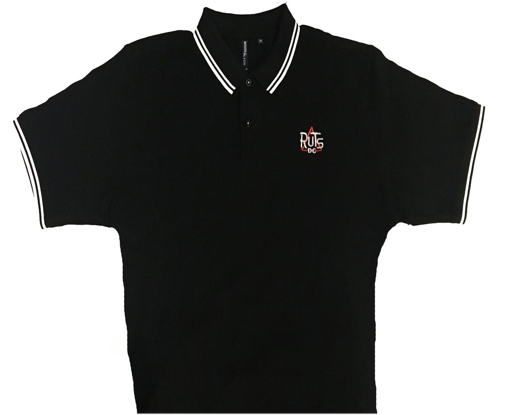 Image of RUTS DC 'Classic Logo' Embroidered Polo Shirt Black with White trim