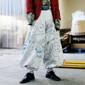 Image of SOLD OUT - Hand Doodled Japanese Workman Pants