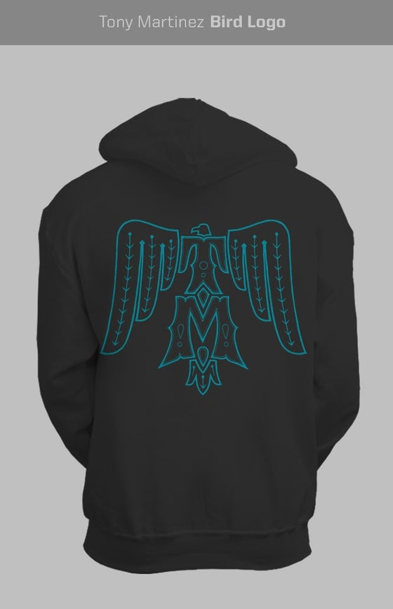 Image of Turquoise on black T-Bird hoodie