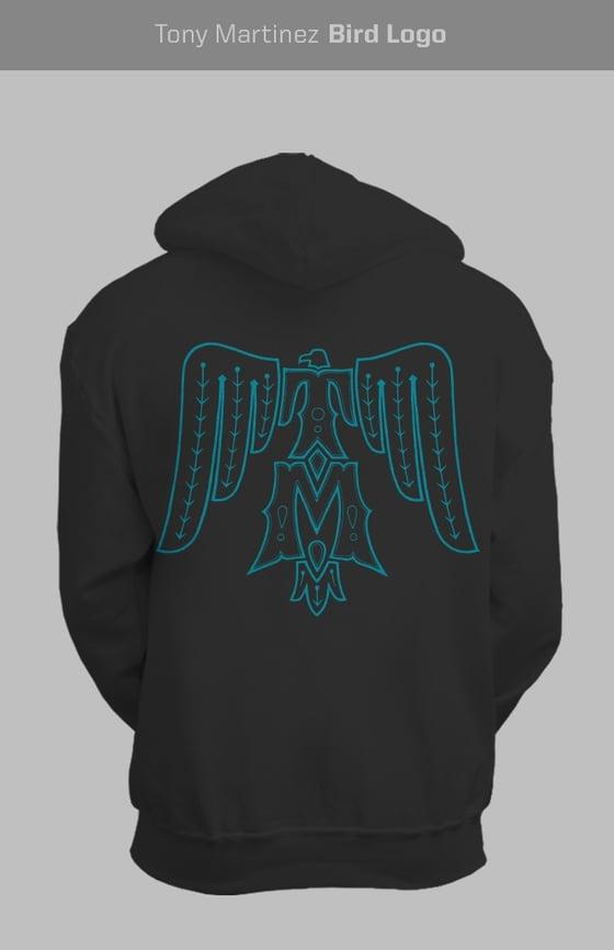 Image of Turquoise on black T-Bird hoodie