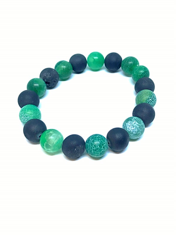 Image of Green agate gemstone stretch bracelet with onyx