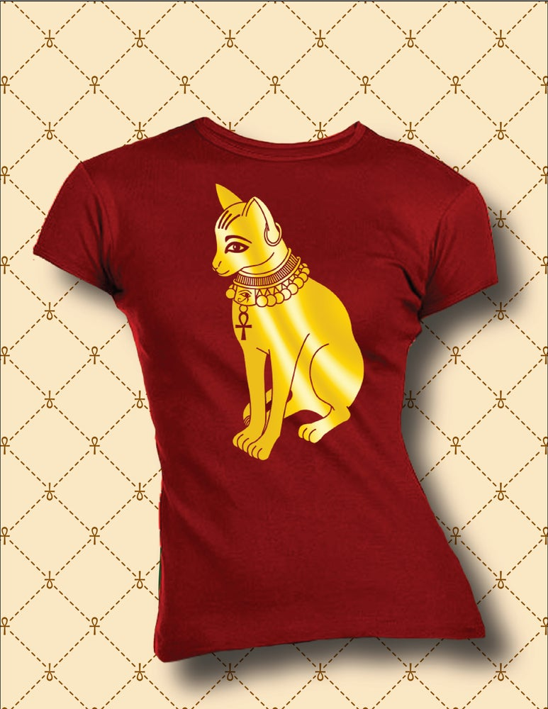 Image of WOMEN'S GOLD FOIL BASTET TSHIRT