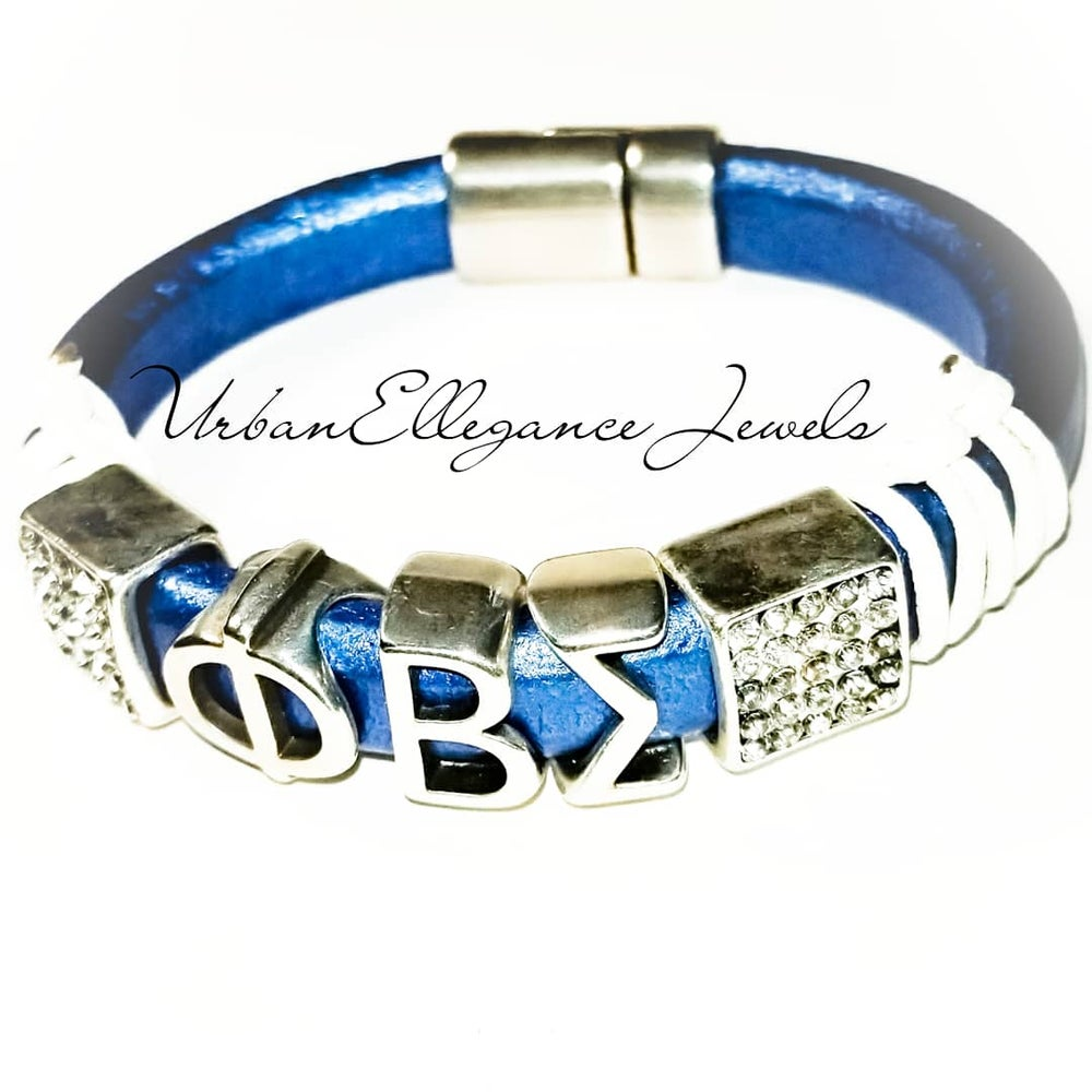 Image of New!! Phi Beta Sigma Leather Bangle Bracelet