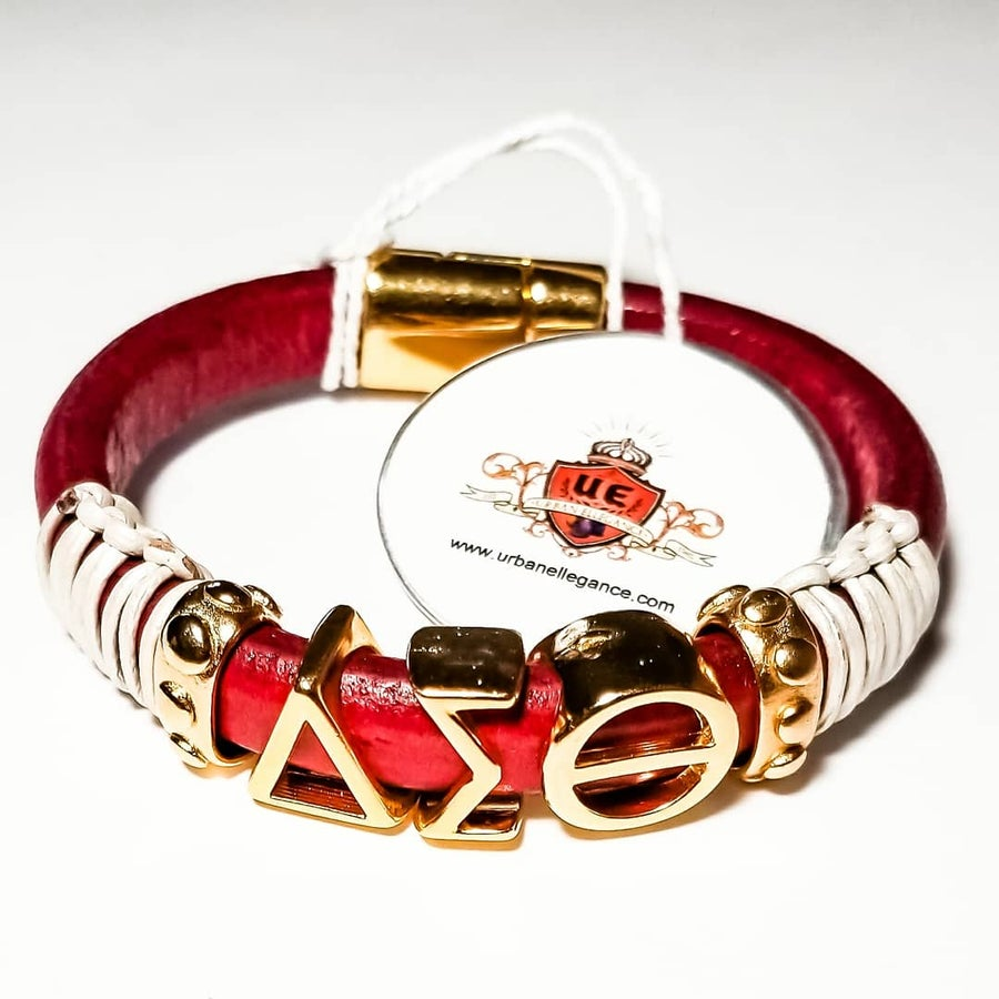 Image of New!! Delta Sigma Theta Leather Bangle
