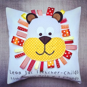 Image of Personalised lion cushion - New baby gift