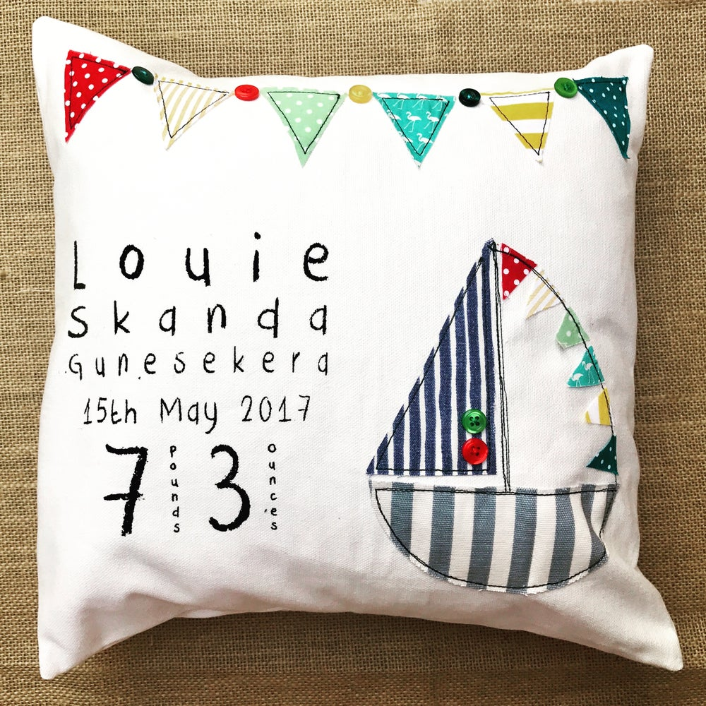 Image of Boat design new baby personalised cushion