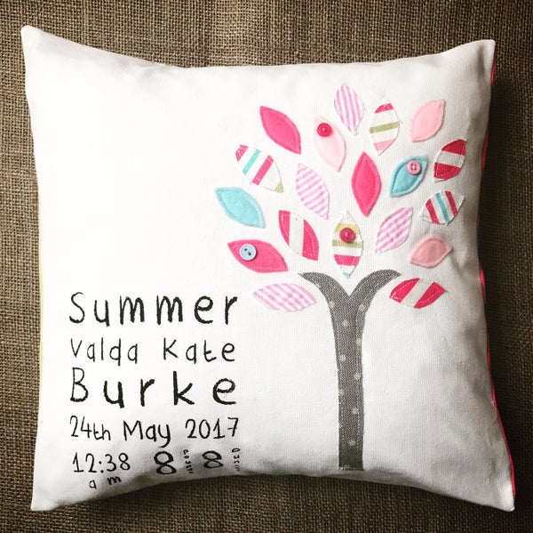 Image of Tree design personalised new baby cushion