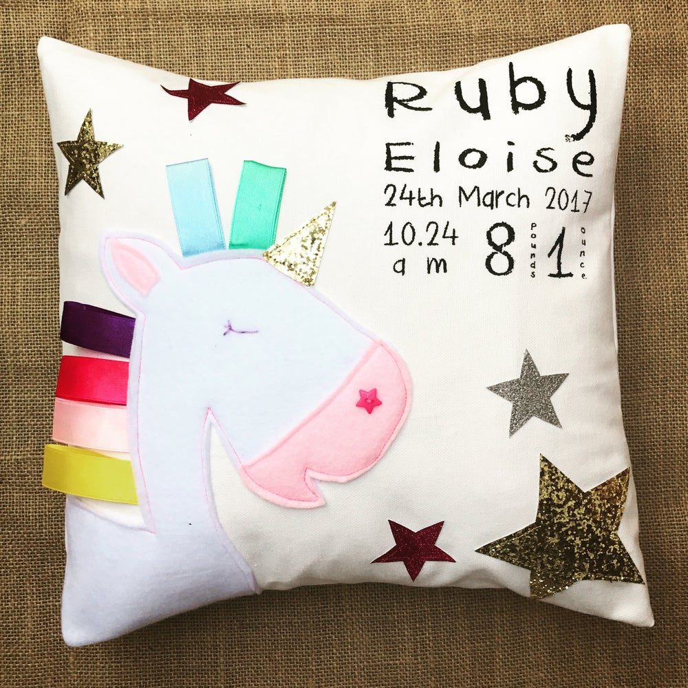 Image of Personalised unicorn cushion