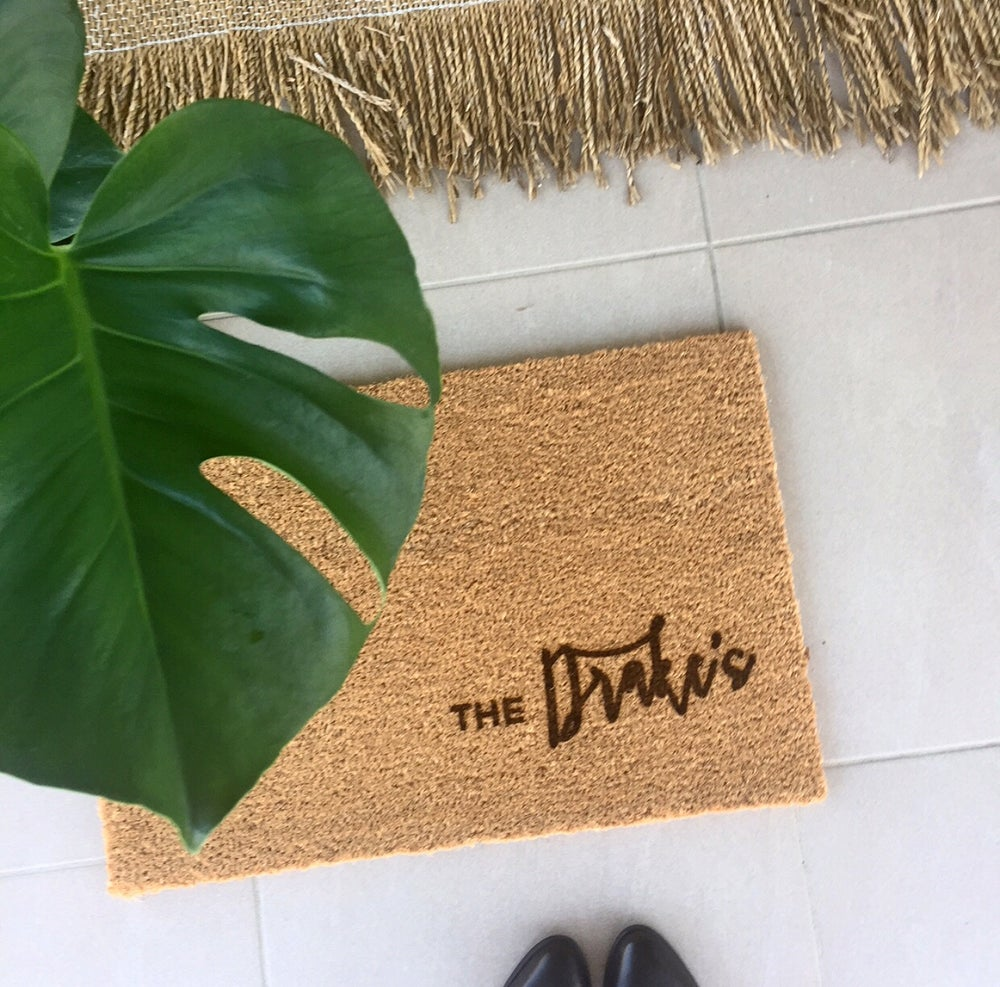 front welcome outdoor residential doormat outside name size last custom vintage mats personalized door mat